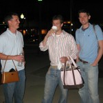 happy men with purses